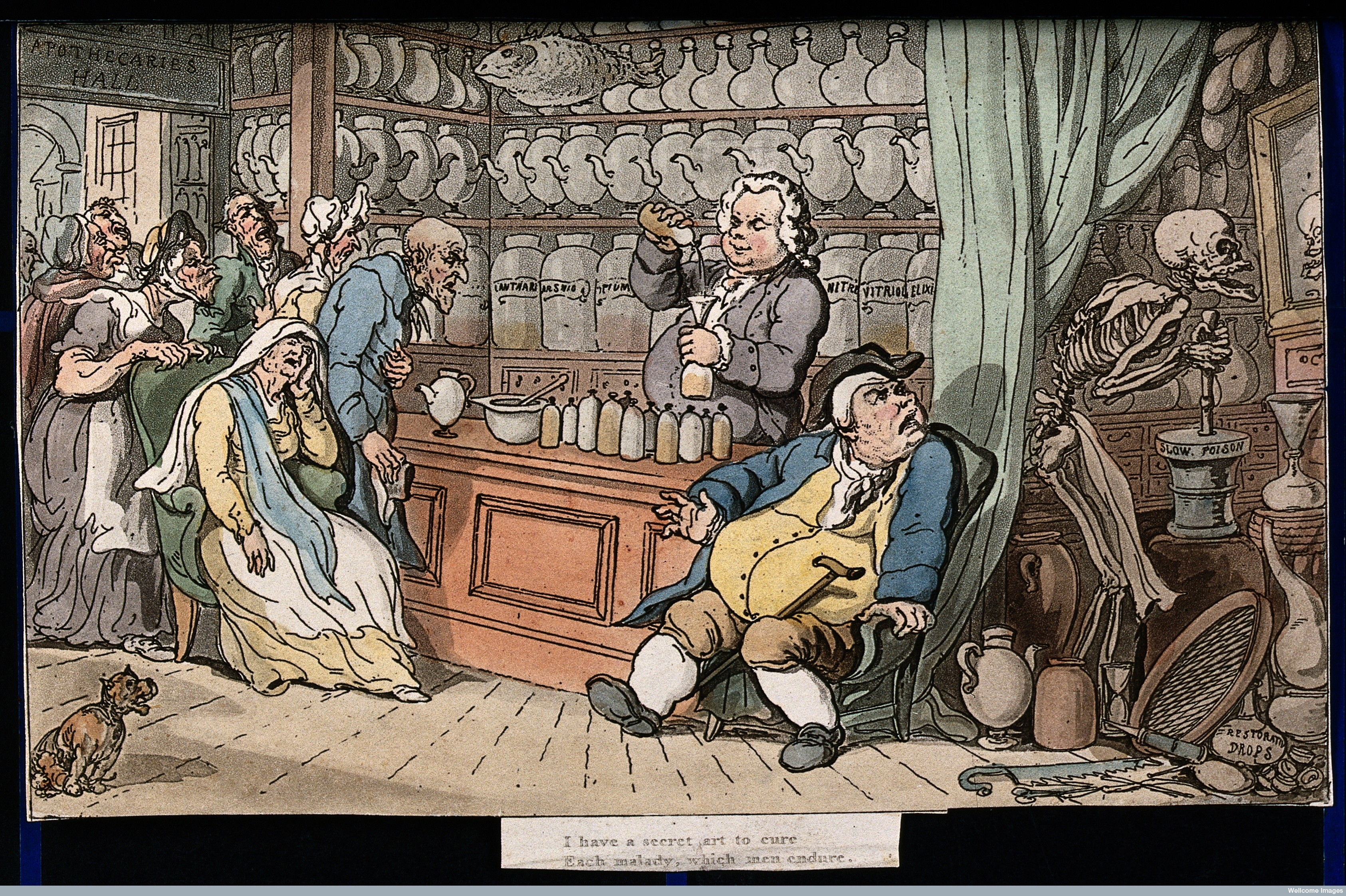 V0042009 The dance of death: the apothecary. Coloured aquatint by T.