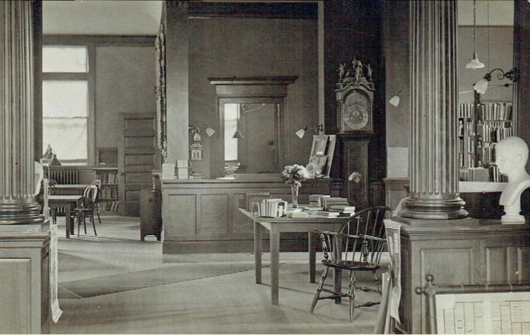 early interior of library