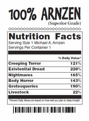 Faux Nutrition Label for '100% Arnzen' Meat Package