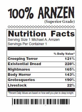 Faux Nutrition Label for '100% Arnzen' Meat Package
