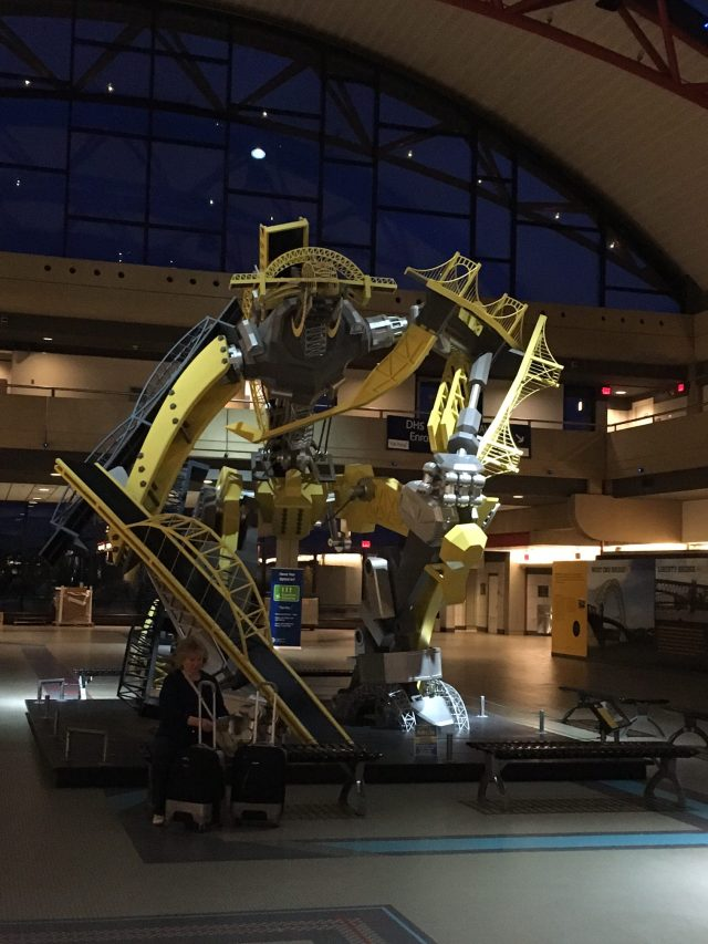 Pittsburgh is a city of bridges. This beast reminds you of this fact at the airport. Imagine being stabbed to death by the Andy Warhol Bridge.