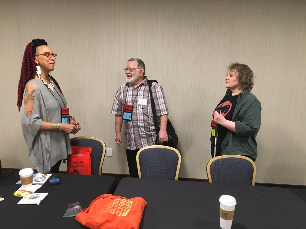 It was a privilege to moderate a fantastic panel about horror poetry with these three talents (Linda Addison, Michael Collings, and Charlie Harmon).