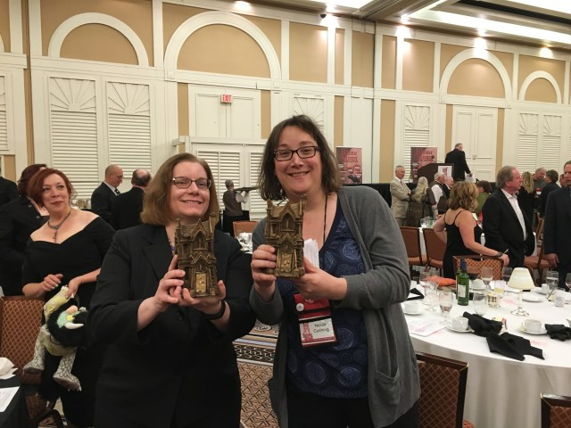 Lucy Snyder and Nicole Cushing with their Stoker trophies from the night!  Hurrah!