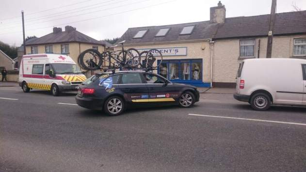 The GoreyCC Team car fully laden and filing in behind the Gorey 3 Day peleton.