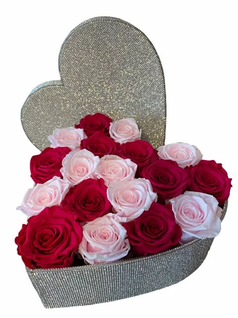 Crystal heart with roses