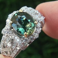 Green Sapphire Diamond 14k White Yellow Gold Ring
