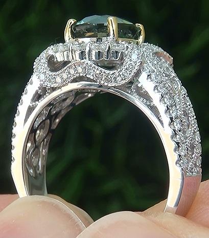 AIGS 3.24 ct UNHEATED Natural VVS Green Sapphire Diamond 14k White Yellow Gold Ring