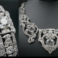 Edwardian Platinum 23 Ct Diamond Necklace Bracelet Suite owned by Mae West