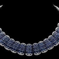 155.0 Carat Sapphire and 10.50 Ct Diamond White Gold Necklace
