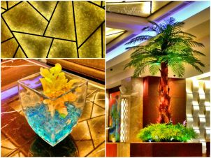 Geometrical Ceiling (upper left); Cymbidium as Centerpiece (lower left); Coconut Tree Decoration (right)