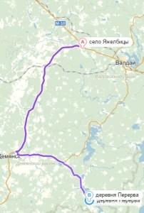 маршрут Ялжебицы -Перерва