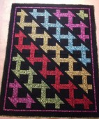 Butterfly Carnival Kona Cotton Churn Dash black fabric bright colors zig zag pattern