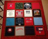 t-shirt tshirt quilt UA University of Arizona Arizona State ASU WSU Sundevils Sparky Wildcats Bear Down Memory quilt fusible interfacing