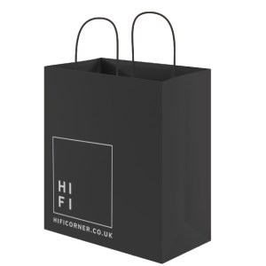 Black paper bag for HiFi Corner.