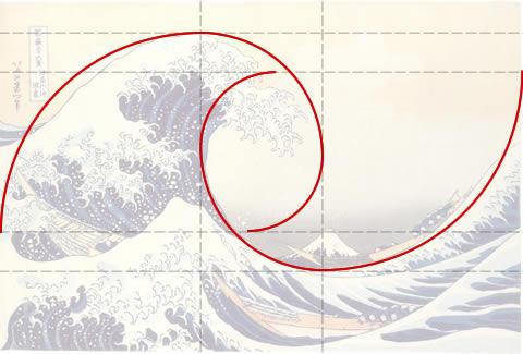 Sobreposición de la espiral áurea sobre la Gran Ola de Kanawaga de Hokusai