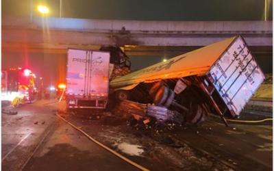 Bridge Abutment Impact By Tractor-Trailer on Hwy 401