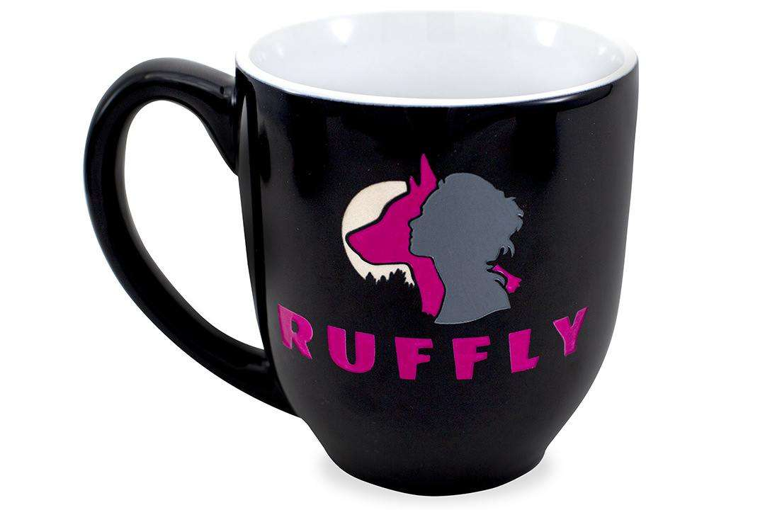 RUFFLY's girl-dog-moon original logo engraved and hand-painted in pink, grey, and white on a black cup