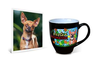 """Original photo beside 14oz ceramic latte mug with engraved and painted image of silly Chihuahua dog with text saying """"I am Jester Imagination"""""""