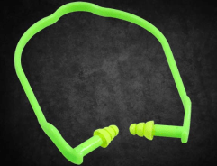 Green Re-usable Mushroom Earplug Banded(FS5000B): Dromex fluorescent green mushroom banded earplugs that are re-usable.