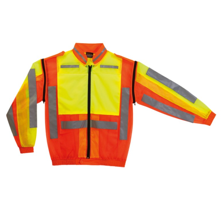 Force Jacket: High-Visibility Mesh Jacket With Epaulettes, Reflective Tape And Zip-Off Removable Sleeves.
