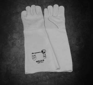 Chrome Leather Reinforced Glove: Dromex premium leather apron palm gloves. Comes in either 5cm or 20cm length Open Cuff