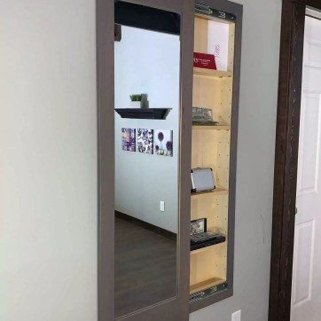 Gray Secret Storage Mirror - Concealed Weapon Safe