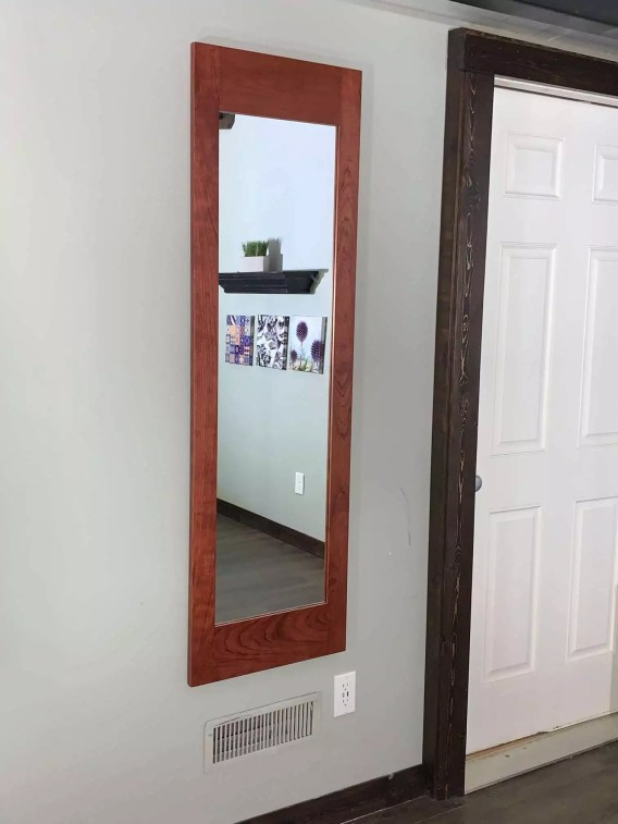 Mahogany Secret Storage Mirror - Hidden Weapon Storage