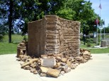 """""""Three Rivers Trailhead"""" monolith, a fixture of historic Downtown"""