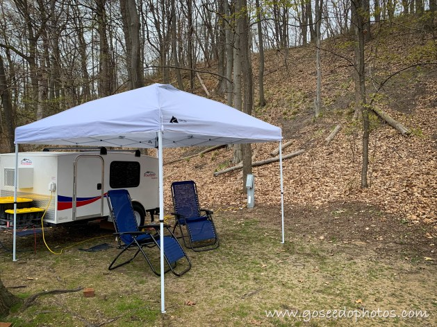 Mini camper in front of dune