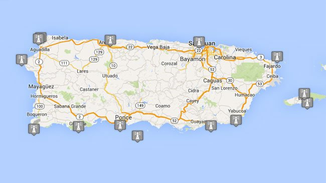 Map and Information on Puerto Ricos Lighthouses