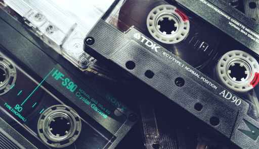 black audio tapes in close up view