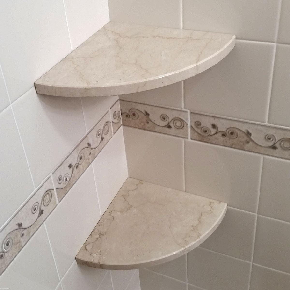 Gorgeous Travertine Corner Shower Shelf - Easy Install ... on Bathroom Corner Shelf  id=62403