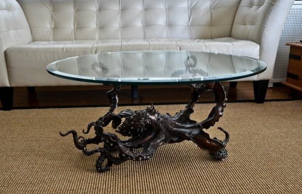 Octopus steampunk glass table 5
