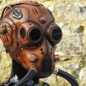 Handmade to order steampunk/dieselpunk Post-apocalyptic Full head face gas Mask.