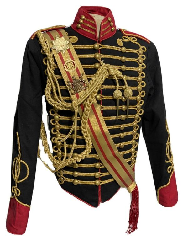 Men's Steampunk Ceremonial Hussar Military Officers Jacket. feont