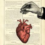 Anatomical Heart Thread Hand - Vintage Victorian Book Page Art Print Steampunk Valentine's Day Love