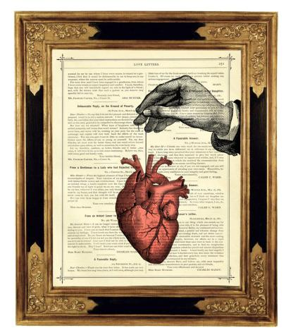 Your Heart On A String Book Art Print. framed