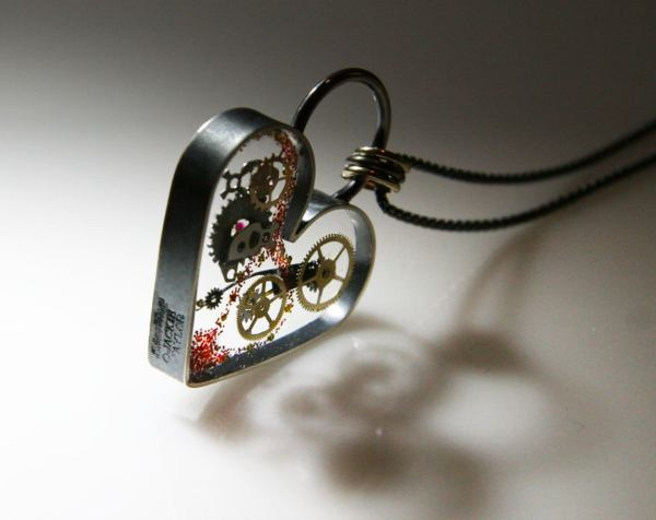 Clockwork Steampunk Heart Necklace with Sterling Silver Frame. 2