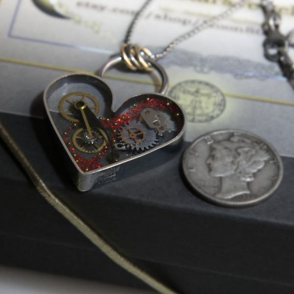 Clockwork Steampunk Heart Necklace with Sterling Silver Frame. 3 with coins
