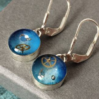 Silver And Resin Tiny Steampunk Watch Part Earrings