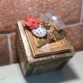 Steampunk, wood box, handcrafted steampunk inspired trinket box, jewellery box, wood storage trunk, steampunk gift, unique steampunk gift
