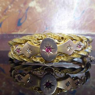 Victorian Ruby and Diamond Bangle in 9 Carat Gold 1