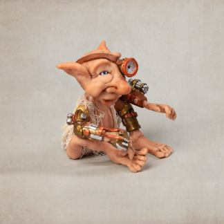 Sergeant Rubeus of the Steampunk Troll Guard. A polymer clay sculpture by Fine Art by James. 1