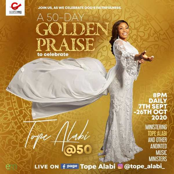 Tope Alabi Sets Up Golden Praise Ahead Of Her 50th Birthday
