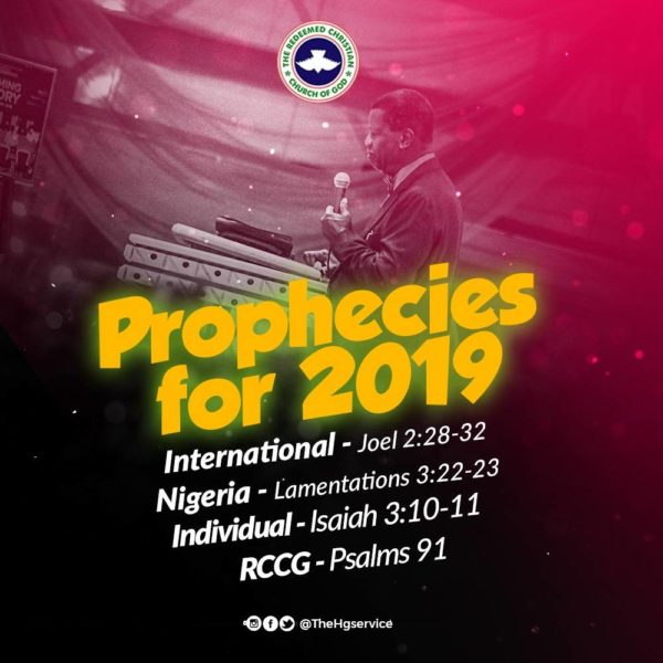RCCG 2019 Prophecy By Pastor E. A Adeboye