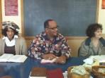 Milton Moorman, Lisa Moorman, and Silvia McDaniels engaging in Adult Bible School