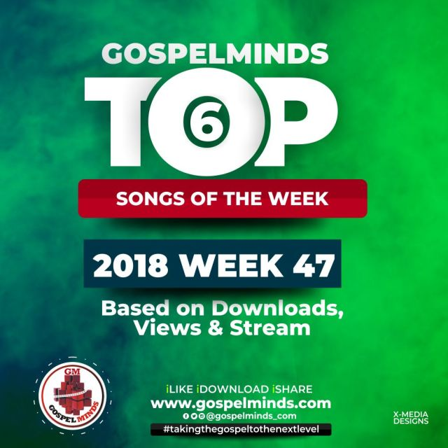 Top 6 Gospel Songs Of The Week (19th – 25th November 2018 WK47)
