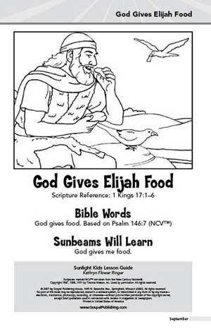 Sunlight Kids Lesson Book God Gives Elijah Food