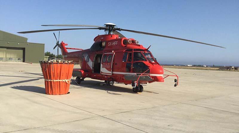 Στο αεροδρόμιο Ακτίου χτες και σήμερα το πυροσβεστικό ελικόπτερο παντός καιρού Super Puma.