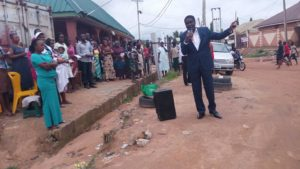 Bishop Abioye on the streets.
